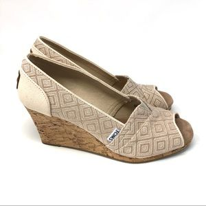 Toms Diamond Cork Peep Toe Wedge Heels